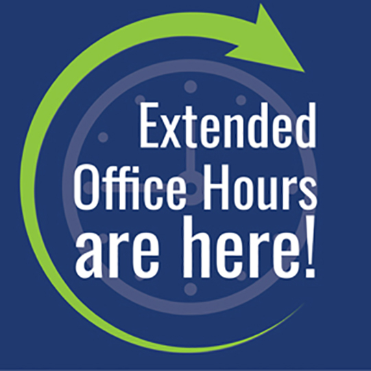 Blue background with a green arrow going in a circle. Content reads Extended Office Hours are here!