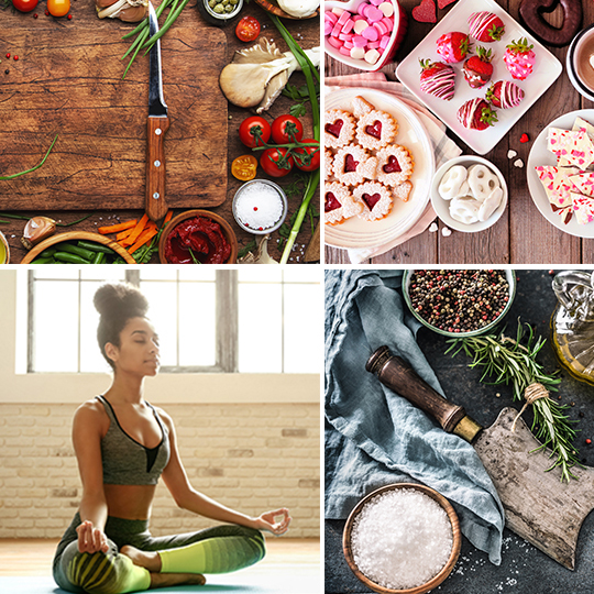 Image of cooking items and yoga class.